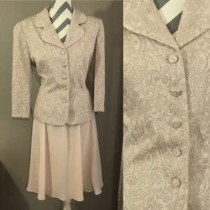 Vintage 90s Nude Paisley Skirt Suit